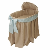 Natural Bassinet with Mint Bow