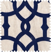 Navy Fretwork Fabric