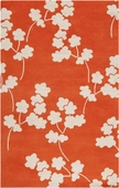 Neon Orange Floral Zuna Hand-Tufted Rug