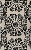 Off White & Black Flowers Moderne Hand-Tufted Rug