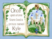 Once Upon a Time Storybook in Blue Canvas Wall Art