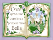 Once Upon a Time Storybook in Lavender Canvas Wall Art