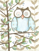 One Blue Owl Framed Art Print