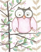 One Pink Owl Framed Art Print