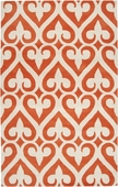 Orange-Red Spades Zuna Hand-Tufted Rug