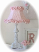 Ornate Cottage White Table Lamp with Pink Rose Petal Shade