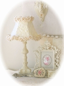 Ornate Ivory Table Lamp with Cream Rose Petal Shade