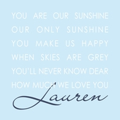 Our Sunshine Blue Personalized Canvas Wall Art