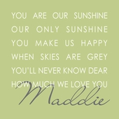 Our Sunshine Green Personalized Canvas Wall Art