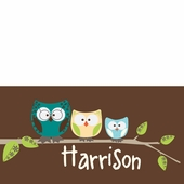 Owl Family Brown Personalized Canvas Wall Art