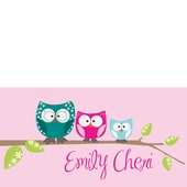 Owl Family Pink Personalized Canvas Wall Art