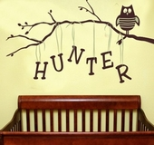 Owl on Branch Boy Custom Personalized Wall Decal