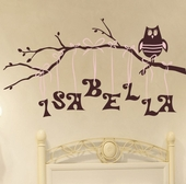 Owl on Branch Girl Custom Personalized Wall Decal