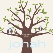 Owl Tree Blue Personalized Canvas Wall Art
