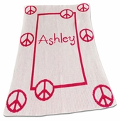 Peace Signs Personalized Blanket