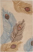 Peacock Feathers Moderne Hand-Tufted Rug