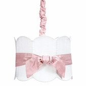 Pendant Light with Double Scalloped White Drum Shade and Pink Sash