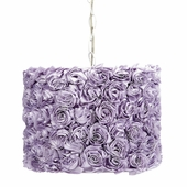 Pendant Light with Lavender Rose Garden Shade