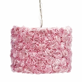 Pendant Light with Pink Rose Garden Shade
