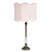 Pewter Large Glass Ball Lamp with Double Scalloped Pink/White Stripe Drum Shade