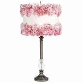 Pewter Large Glass Ball Lamp with Off-White Shade with Pink Rose Garden