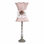 Pewter Medium 3 Glass Ball Lamp with Pink/White Shade & Rose Magnet