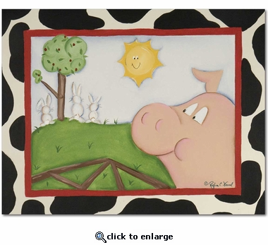 Pig and Bunnies Gallery Wrapped Stretched Giclee Canvas