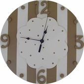 Pink & Brown Cloud Wall Clock