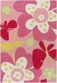 Pink Butterfly Chic Hand-Tufted Rug