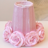 Pink Chandelier Shade with Roses