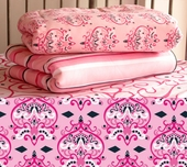 Pink Damask Fitted Crib Sheet