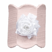 Pink Double Scalloped Night Light with White Ribbon Rose Magnet