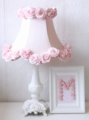 Pink Dupioni Silk & Roses Table Lamp