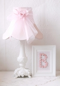 Pink Dupioni Silk & Tulle Table Lamp