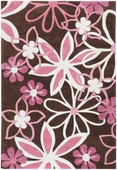 Pink Flowers Chic Hand-Tufted Rug
