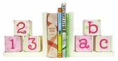 Pink & Green ABC 123 Bookends