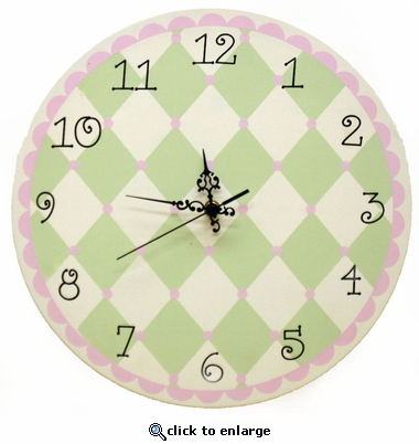 Pink & Green Harlequin Wall Clock