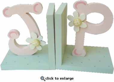Pink & Green Initial Bookends
