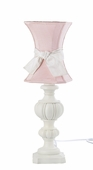 Pink Hourglass Shade on Large Urn White Lamp