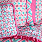 Pink Ikat Square Accent Pillow