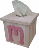Pink Initial Tissue Box Cover