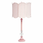 Pink Large Glass Ball Lamp with Double Scalloped Pink/White Stripe Drum Shade
