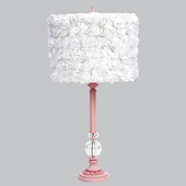 Pink Large Glass Ball Lamp with White Rose Garden Drum Shade