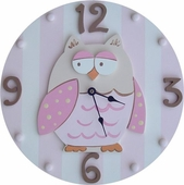 Pink Owl Wall Clock