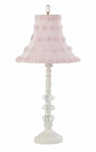 Pink Petal Flower Shade on Medium 3 Glass Ball White Lamp