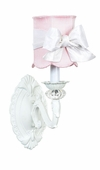 Pink Scallop Drum Shade on 1-Arm Turret White Wall Sconce