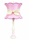 Pink Scallop Hourglass Shade on Large Lotus Pink & White Lamp