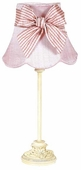 Pink Squash Scallop Shade on Small Leaf Scroll Ivory Lamp