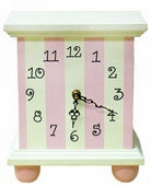 Pink Stripe Table Clock