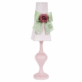 Pink Stripe with Modern Green Sash Tower Shade and Bright Pink Rose Magnet on Large Curvature Pink Lamp